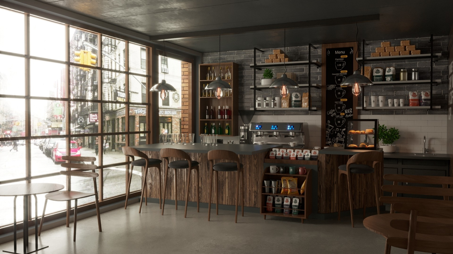 Purchase A 3D Coffee Shop Interior Design Model UK Style | FrogModel