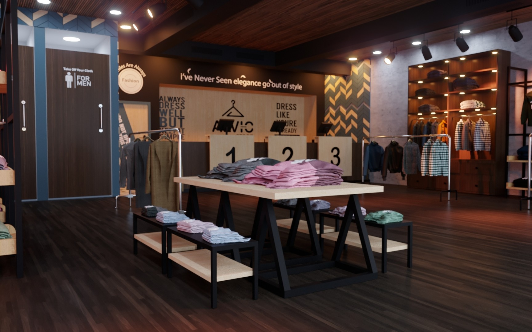 Buy A Clothing Store 3D Interior Design Model At FrogModel