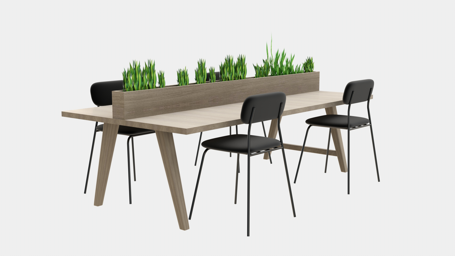 Co Working Table and Chair 3D Model | FrogModel